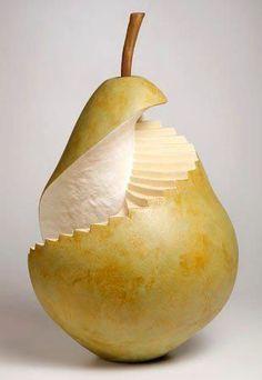 """Pear art amazing fruit art """"Spiral Pearcase"""" by Susan Clusener L'art Du Fruit, Deco Fruit, Fruit Art, Fruit Cakes, Amazing Food Art, Food Sculpture, Sculpture Ideas, Ceramic Sculptures, Vegetable Carving"""