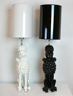 black and white poodle lamps from room service LA #Poodle