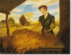 John Steuart Curry - Bundling Tobacco 1941 - Approximate Original Size - 30x39 Painting
