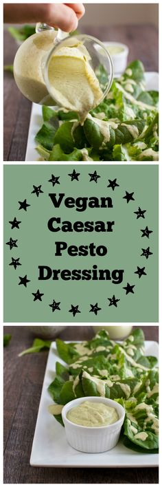 vegan caesar pesto dressing made with clean ingredients (Liquid Diet Recipes) Vegan Sauces, Vegan Foods, Vegan Dishes, Vegan Cru, Raw Vegan, Vegan Pesto, Raw Food Recipes, Vegetarian Recipes, Diet Recipes