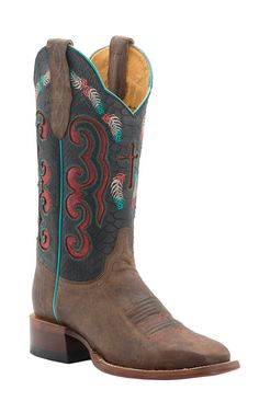 Cinch Women's Vintage Tan Goat with Black & Red Inlay Top Square Toe Western Boots | Cavender's