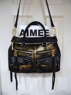 "Aimee Kestenberg Leather Satchel Handbag - Soho ""Gold Distressed""  NEW Save 75.0 #AimeeKestenberg #Satchel"
