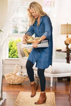 Super Long Shirt (or Short Dress) Over Leggings and Ankle Boots