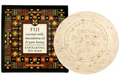 Fiji Destination Spa Soap by Greenwich Bay Trading Company. Inspired by fresh botanicals from spas around the world. Triple-milled, luxurious spa soaps enriched with shea butter, cocoa butter, coconut milk, macadamia nut oil & pure honey and blended with exfoliating coconut husk.