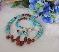 Red Jasper nuggets and Turquoise pebble necklace by uniquebysuzy