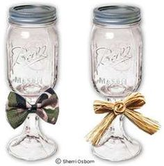 Redneck wine glasses. Just glue Mason Jars on top of glass candle holders!