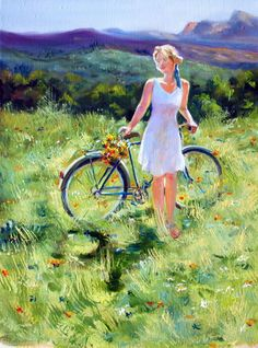 Simple Guidance For You In Professional Bike Painting Bicycle Painting, Bicycle Art, She's A Lady, Cycling Art, Art Pages, Figurative Art, Female Art, Art Pictures, Bunt