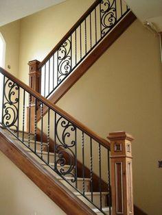Staircase Railing Design, Interior Stair Railing, Modern Stair Railing, Staircase Wall Decor, Wrought Iron Stair Railing, Staircase Handrail, Home Stairs Design, Staircase Remodel, Staircase Makeover