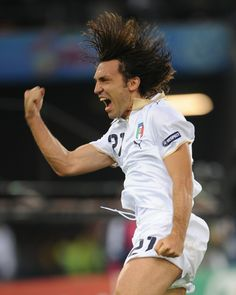 Italy's Andrea Pirlo celebrates scoring the opening goal of their game, from the penalty spot, against France at Euro 2008.