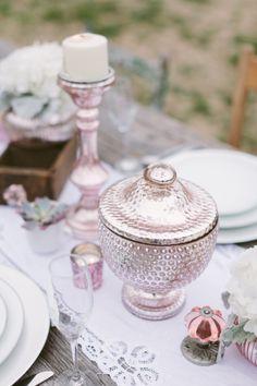 Pink mercury glass.