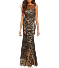 7c00b8de7fe JS Collections Crew Neck V-Back Sleeveless Illusion Soutache Mermaid Gown