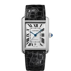 Tank Solo watch, extra-large model - Automatic, steel, leather - Fine Timepieces for men - Cartier