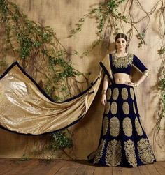 Beautiful Navy Blue Velvet Designer Lehenga Choli Online ,Indian Dresses - 1