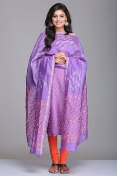 Lavender Unstitched Chanderi Suit With Floral Hand Block Print & Gold Zari Border