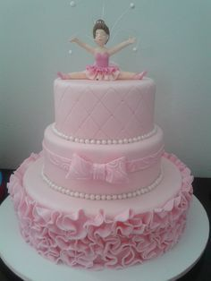 ideas baby girl cake simple birthday parties for 2019 Ballet Cakes, Dance Cakes, Ballerina Cakes, Ballerina Birthday Parties, Ballerina Party, Birthday Cake Girls, Bolo Fack, Patterned Cake, Baby Girl Cakes