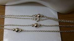 Vintage Halsschmuck - Kette 835er Silber Halskette mit Kugeln SK876 - ein…