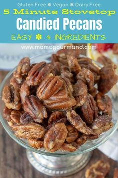 Quick Candied Nuts only take 4 ingredients and 5 minutes on your stovetop. You w… Quick Candied Nuts only take 4 ingredients and 5 minutes on your stovetop. You won't believe how easy these brown sugar, maple glazed nuts are to make! Walnut Recipes, Pecan Recipes, Snack Recipes, Cooking Recipes, Sweet Recipes, Easy Candy Recipes, Almond Recipes, Dinner Recipes, Dessert Recipes