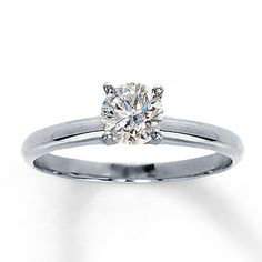 Diamond Solitaire Ring 3/4 carat Round-cut  14K White Gold. Perfect with a princess cut. I love the thinner bands, especially for solitaires