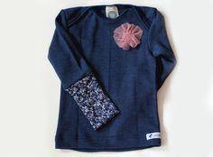 Langarmshirts - Wolle Seide Longsleeve ✿ Blümchen blau ✿ - ein Designerstück von pickNicker_blue bei DaWanda