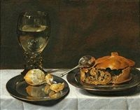 Still life of a Roemer, lemon and a meat pie by Roelof Koets the Elder (1592-1655)
