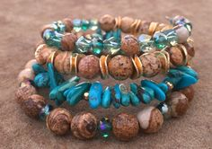 3 day weekend / southwestern jewelry / turquoise bracelet / memory wire / bracelet stack /  by YellowMangoBracelets