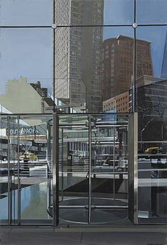 Richard Estes, Entrance Alice Tully Hall, 2010, huile sur toile,46.99cm x 31.75cm.