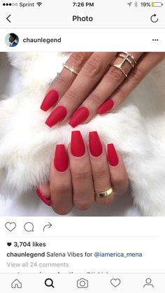 Matte red coffin nails ❤️