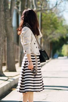 Spring Trends: Cropped Jacket, Black and White Prints, and a Full Skirt