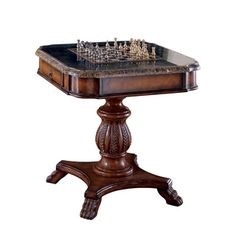 Handmade Vintage Wood and Stone (Grey) Game Table (Philippines) (Vintage Wood and Stone Game Table), Butler Specialty Table And Chairs, Dining Table, Stone Game, Game Room Furniture, Furniture Ideas, Chess Table, Coffee Table Chess Board, Table Games, Game Tables