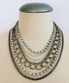 Stylish multi layered necklace with crystal accent
