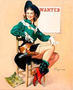 "Western Pinup Girl / Cowgirl Pinup Girl | Tattoo Ideas & Inspiration - Pinups | Gil Elvgren Pin-Up Art - ""Wanted"", 1962, Brown & Bigelow"