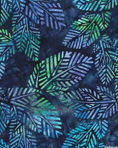 Spring Mod 2 - Tropical Leaves Batik - Midnight Blue