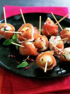 CANAPES! Marinated bocconicini and Parma ham skewers http://www.marieclaire.co.uk/lifestyle/recipes/170277/marinated-bocconicini-and-parma-ham-skewers.html  http://www.pinterest.com/ikonworks/ https://www.facebook.com/pages/Ikon-Works/335268166553005 #rockmywinterwedding @Rock My Wedding