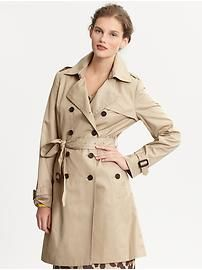 Every woman needs a basic trench.  Perfect for brisk mornings, light rain, or windy days.