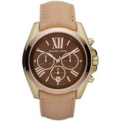 Michael Kors Watch, Women's Chronograph Bradshaw Chocolate Vachetta... ($225) ❤ liked on Polyvore