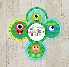 INSTANT DOWNLOAD Monster Cupcake Toppers by TwoLaughingLambs, $1.95