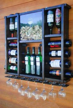 Mini bar wine rack mini bar with wine storage – simplebirdiecrafts Home Wine Bar, Wood Wine Racks, Diy Wine Racks, Home Bar Designs, Wine Cabinets, Wine Storage, Bars For Home, Home Projects, Woodworking Projects