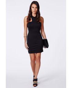 Kika Black Bodycon Halterneck Dress - Dresses - Bodycon Dresses - Missguided