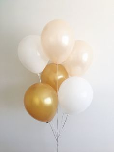 Peach White Gold Latex Balloons Peach Balloons Gold Balloons Peach and Gold First Birthday Peach White Gold Party Bridal Shower Wedding