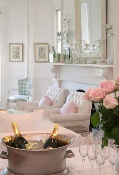 Love the crisp white with the pops of pale pink and blue