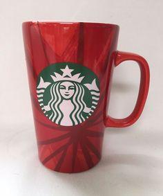 123fd9b3a21 STARBUCKS 2014 Siren Logo Tall Red Ceramic Coffee Cup Mug 16 oz #Starbucks