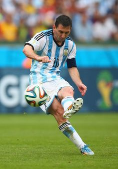Lionel Messi of Argentina scores his team's second goal and his second of the game during the 2014 FIFA World Cup Brazil Group F match between Nigeria and Argentina at Estadio Beira-Rio on June 25, 2014 in Porto Alegre, Brazil.