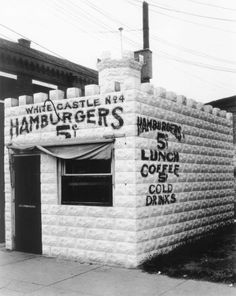 """Founded in Wichita, Kan., in 1921, the """"sliders"""" were priced at 5 cents a piece until the '40s. The original location is pictured above."""