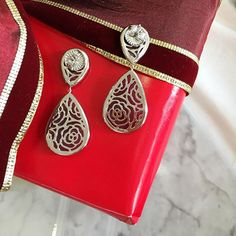 Never lose sight of the details  Ruby drop earrings with platinum rose back details handcrafted by Ricardo Basta Fine Jewelry