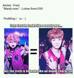 Ok, this is not really a cosplay.. but just look at it! Luhan from EXO looks jusf like Nagisa-kun from FREE! Hahahaha they're both pretty kawaii too :3 #Kpop #exo #anime
