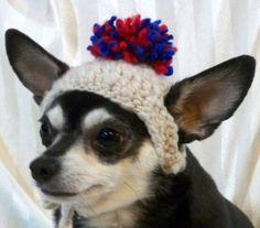 Patriotic Pom-Pom small dog/cat crocheted hat