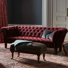 Chesterfield Sofa, Burgundy Mohair