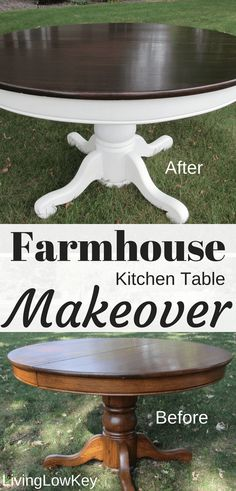 Want to turn your kitchen table into a farmhouse table for cheap? Then you have to check out this amazing DIY Kitchen Table Makeover. They even walk you through the step by step process you can complete your own project. Cocina Shabby Chic, Shabby Chic Kitchen, Farmhouse Kitchen Tables, Farmhouse Furniture, Diy Kitchen, Antique Furniture, Country Furniture, Handmade Furniture, Kitchen Decor