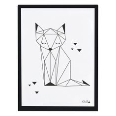 Kinderzimmerbild \'Origami-Fuchs\' schwarz/weiß 30x40cm