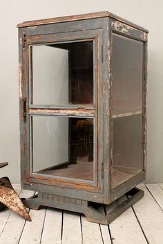 Vintage Indian Industrial Blue Gray Farm Chic Glass Storage Cabinet Curio Bar Media Cabinet- could use as bar